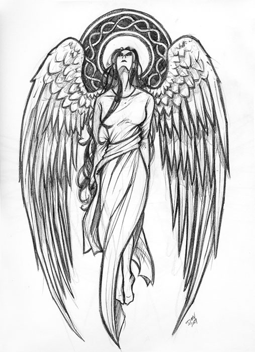 Guardian Angel With Sword Sketch Templates